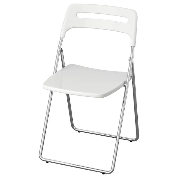 Nisse Krzesło Składane Połysk Biały Chrom Ikea