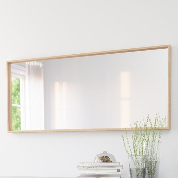 NISSEDAL Lustro, dąb bejcowany na biało, 65x150 cm
