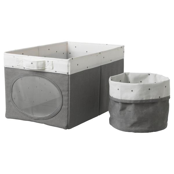 NÖJSAM Pojemnik i koszyk, szary, 25x37x22 cm