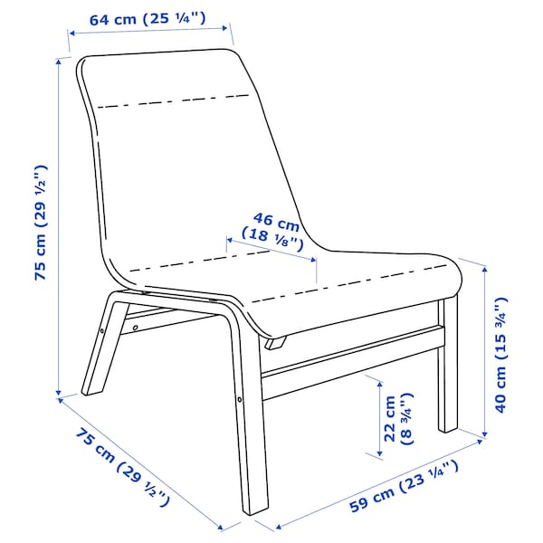 NOLMYRA fotel okl brzoz/szary 64 cm 75 cm 75 cm 59 cm 46 cm 40 cm