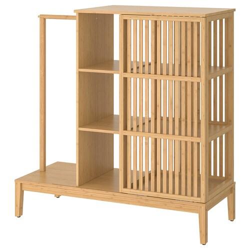 NORDKISA szafa otwarta z przesuw drzwiami bambus 120 cm 47 cm 123 cm