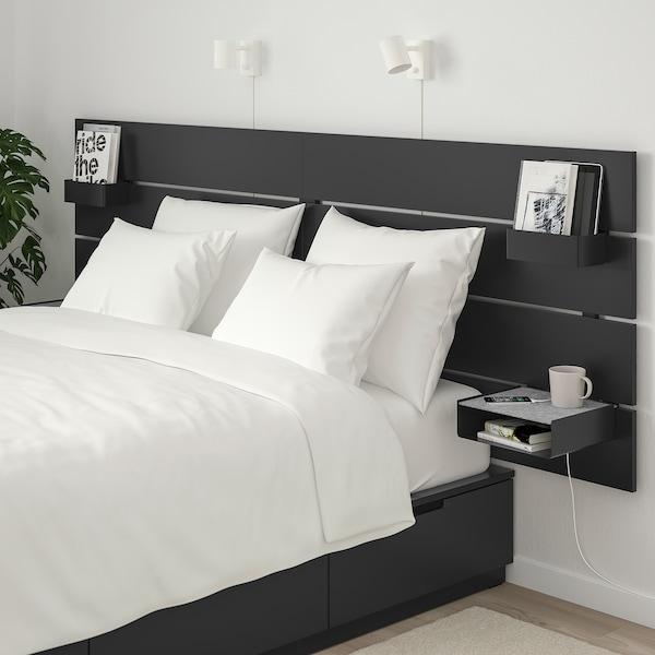 NORDLI Rama łóżka z pojemnikiem, zagłówek antracyt 16 cm 202 cm 240 cm 30 cm 58 cm 51 cm 114 cm 200 cm 160 cm