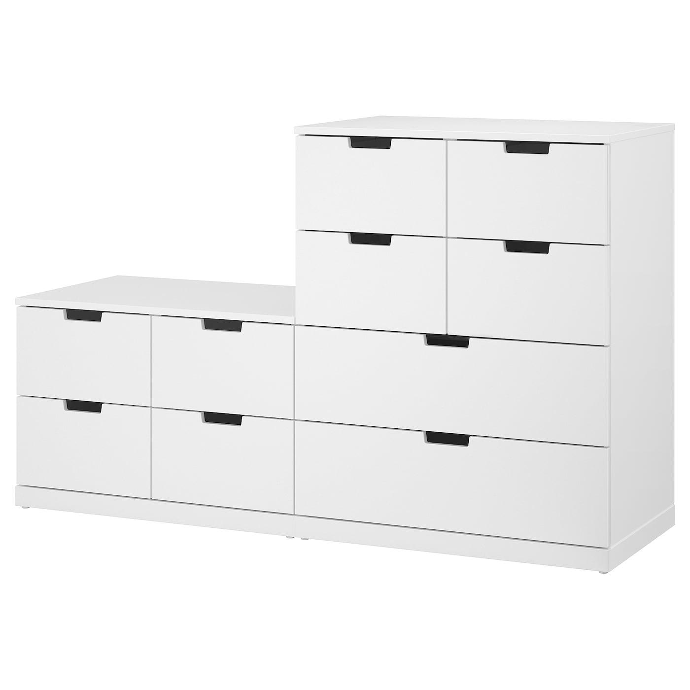 IKEA NORDLI biała komoda z dziesięcioma szufladami, 160x99 cm