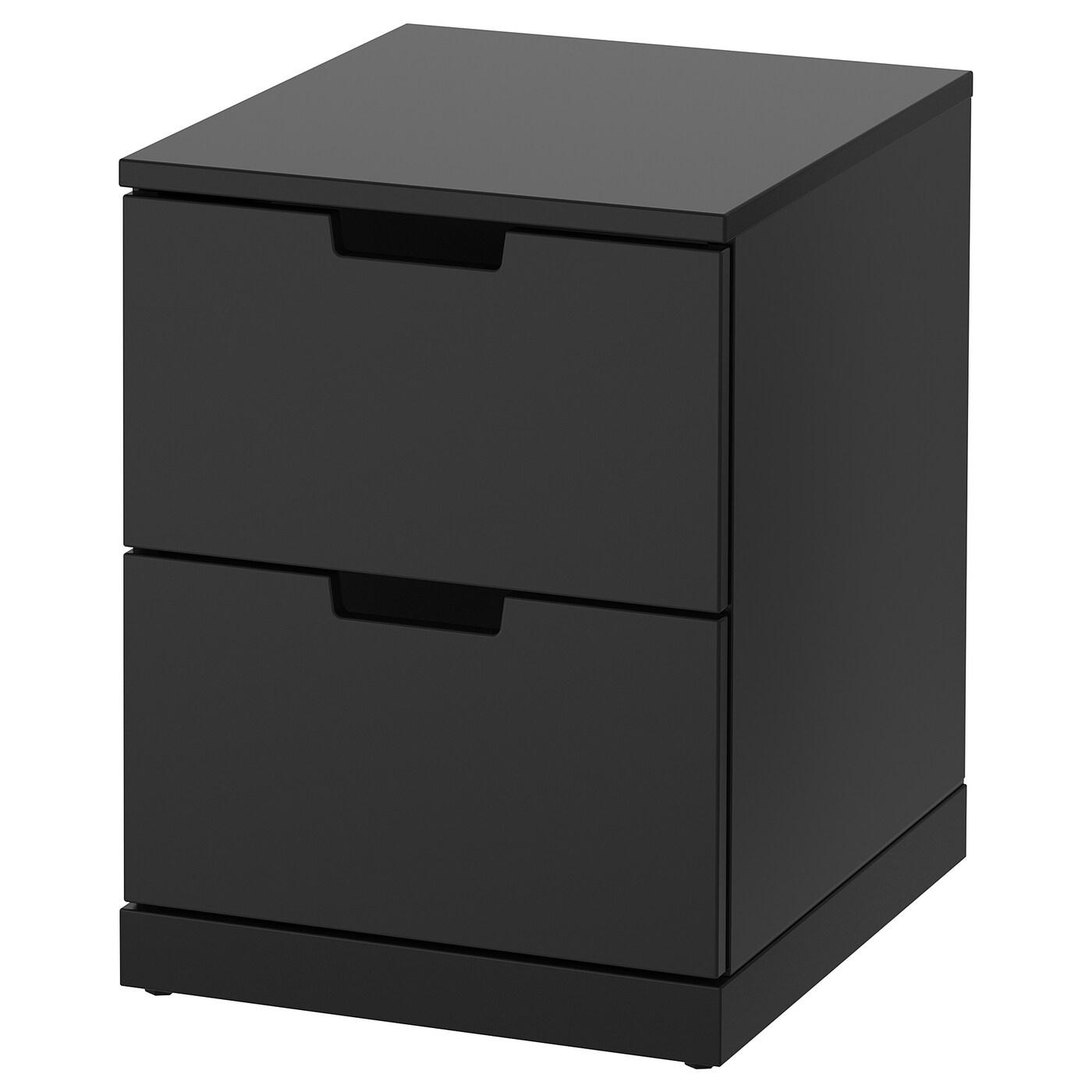 IKEA NORDLI antracytowa komoda z dwiema szufladami, 40x54 cm
