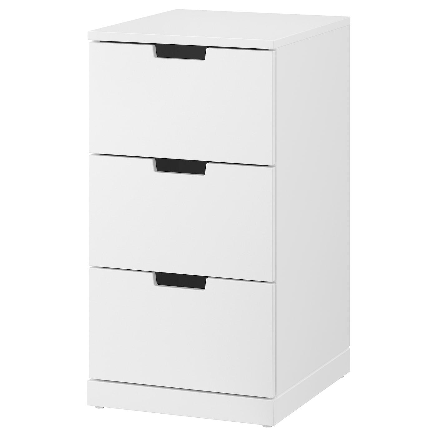 IKEA NORDLI biała komoda z trzema szufladami, 40x76 cm