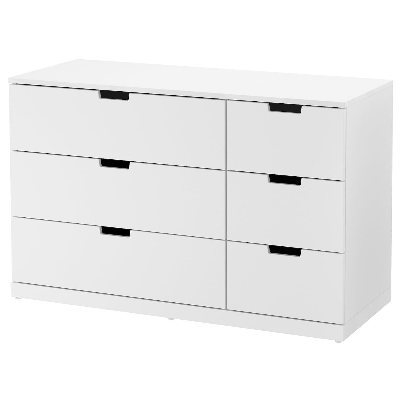 IKEA NORDLI biała komoda z sześcioma szufladami, 120x76 cm