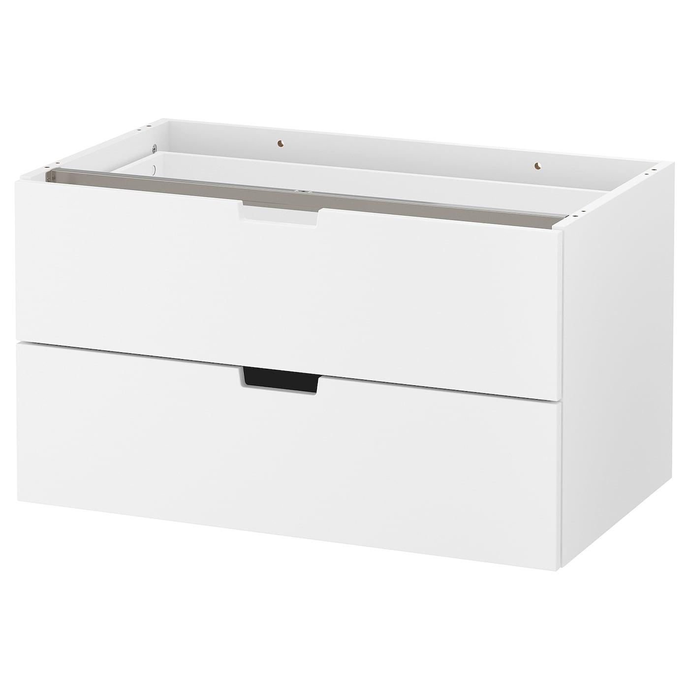 IKEA NORDLI biała komoda modułowa z dwiema szufladami, 80x45 cm