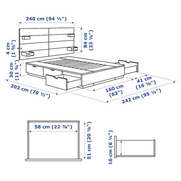 NORDLI Rama łóżka z pojemnikiem, zagłówek, antracyt, 160x200 cm
