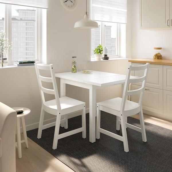 NORDVIKEN Stół z opuszcz blatem, biały, 74/104x74 cm