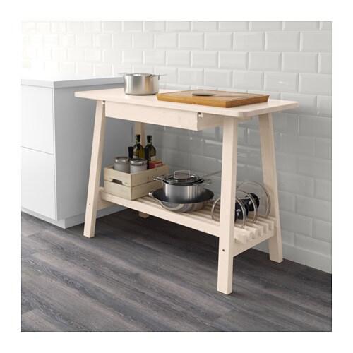 НОРРОКЕР Консольный стол, белый береза, 120x50 см-2