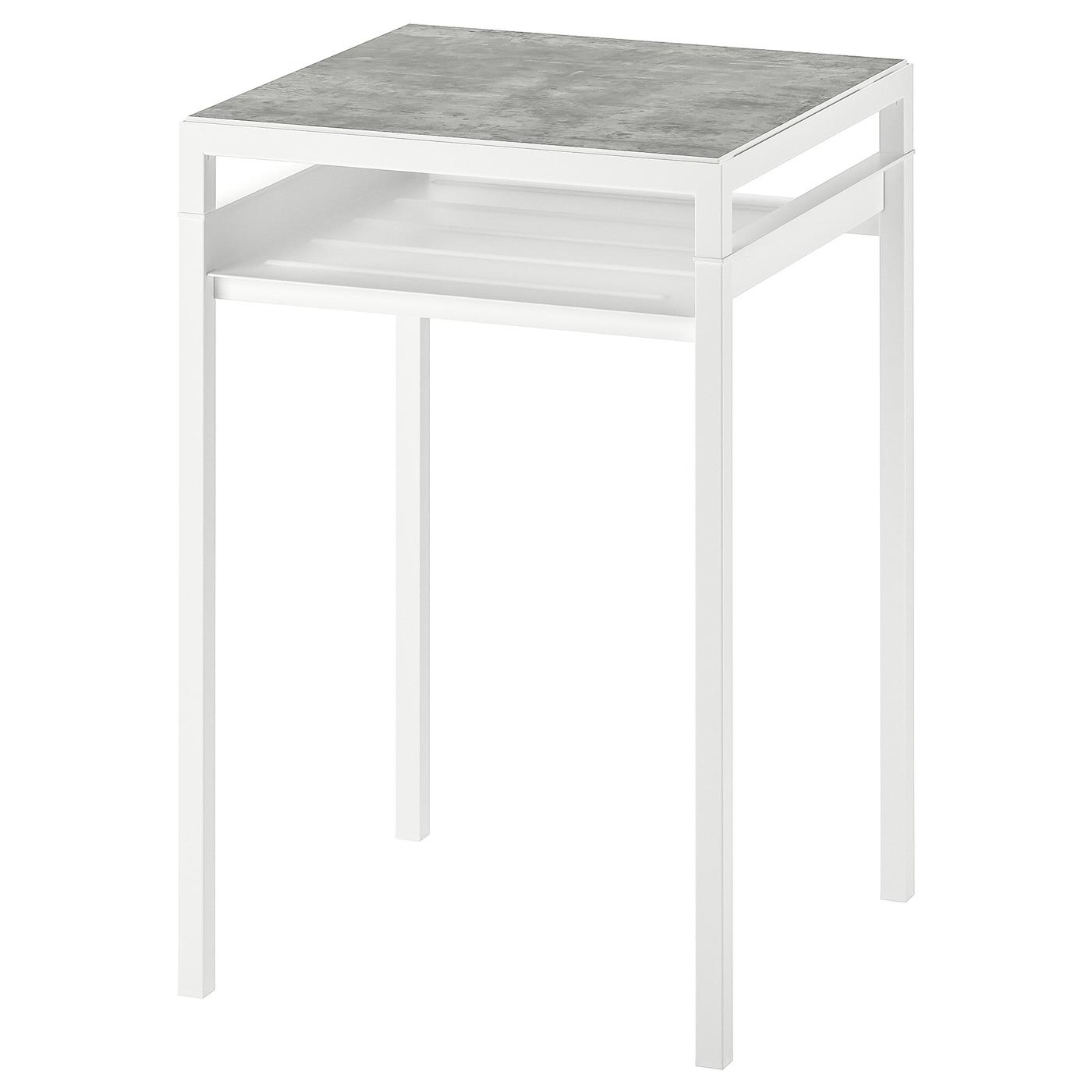 IKEA NYBODA Stolik z odwracalnym blatem, jasnoszary imitacja betonu, biały, 40x40x60 cm
