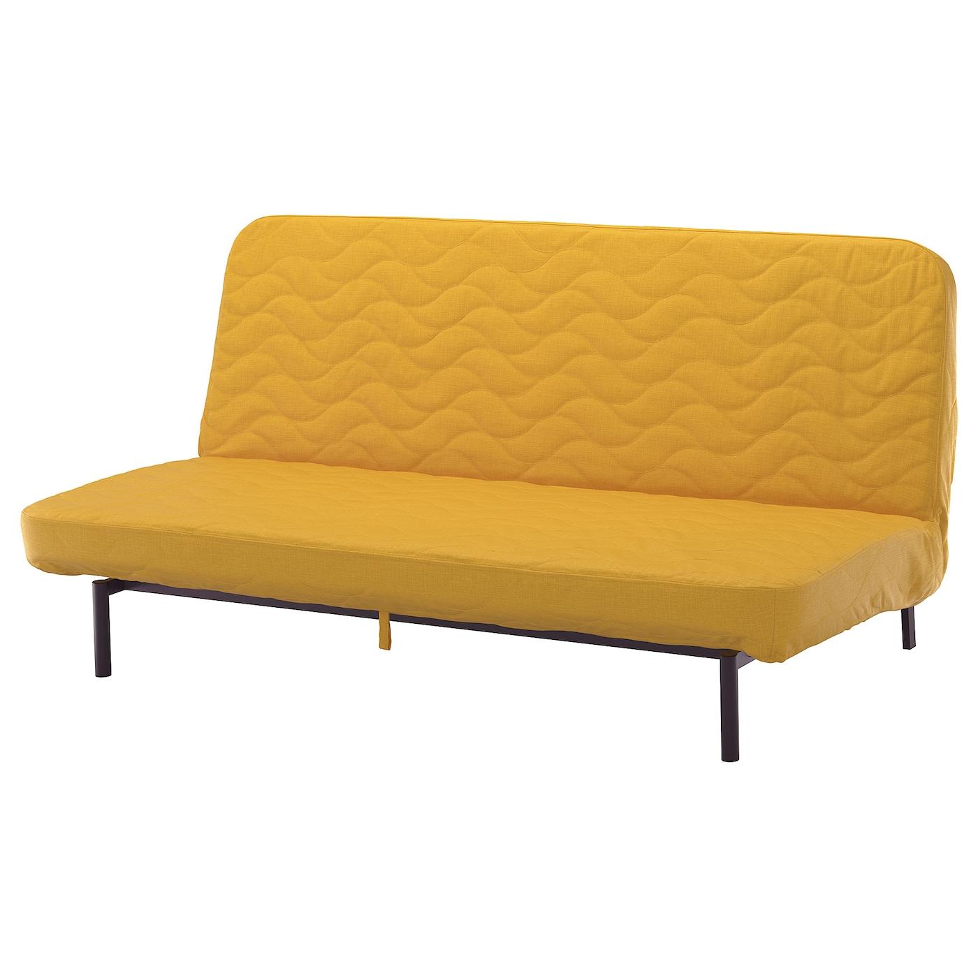 IKEA NYHAMN Rozkładana sofa 3-osobowa, materac ze sprężynami kieszeniowymi, Skiftebo żółty
