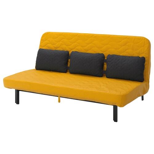 NYHAMN sofa rozkładana z potrójną poduchą z materacem piankowym/Skiftebo żółty 200 cm 97 cm 90 cm 73 cm 31 cm 140 cm 200 cm