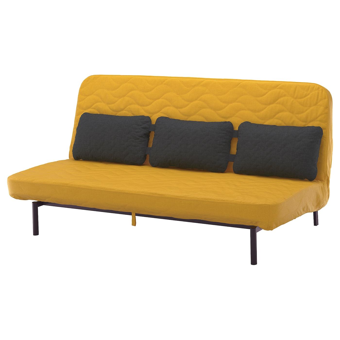 IKEA NYHAMN Sofa rozkładana z potrójną poduchą, z materacem piankowym, Skiftebo żółty