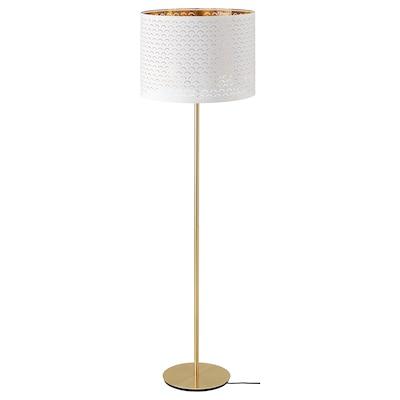 NYMÖ / SKAFTET Lampa podłogowa, biały mosiądz/mosiądz