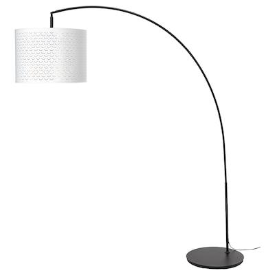 NYMÖ / SKAFTET Lampa podłogowa, łuk, biały/kolor mosiądzu
