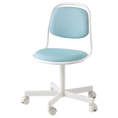 ÖRFJÄLL Dziecięce krzesło biurowe, biały/Vissle niebieski/zielony