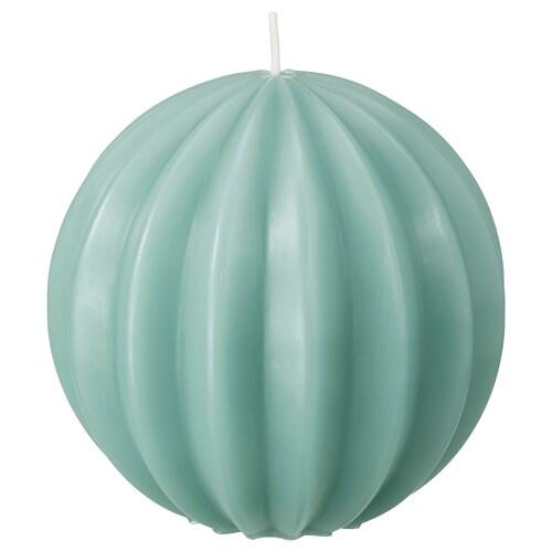 OVÄRDERLIG bezzapachowa świeca bryłowa okrągły/zielony 9.5 cm 10 cm 28 godzina