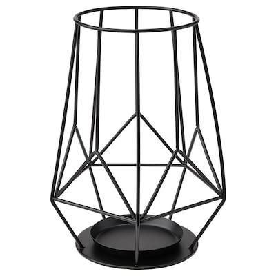 PÄRLBAND Świecznik na świecę bryłową, czarny, 21 cm