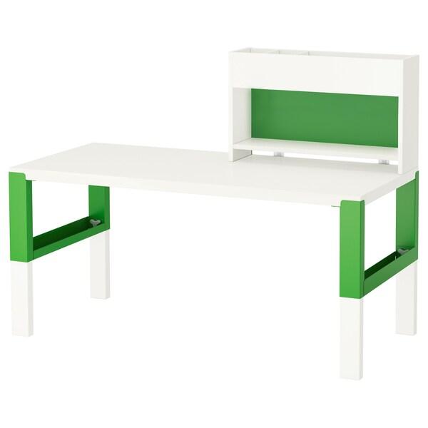 PÅHL Biurko z nadstawką, biały/zielony, 128x58 cm