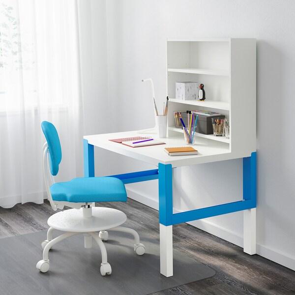 PÅHL Biurko z półką, biały/niebieski, 96x58 cm