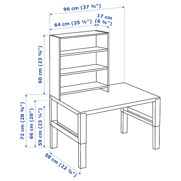 PÅHL biurko z półką biały/niebieski 96 cm 58 cm 119 cm 132 cm 50 kg