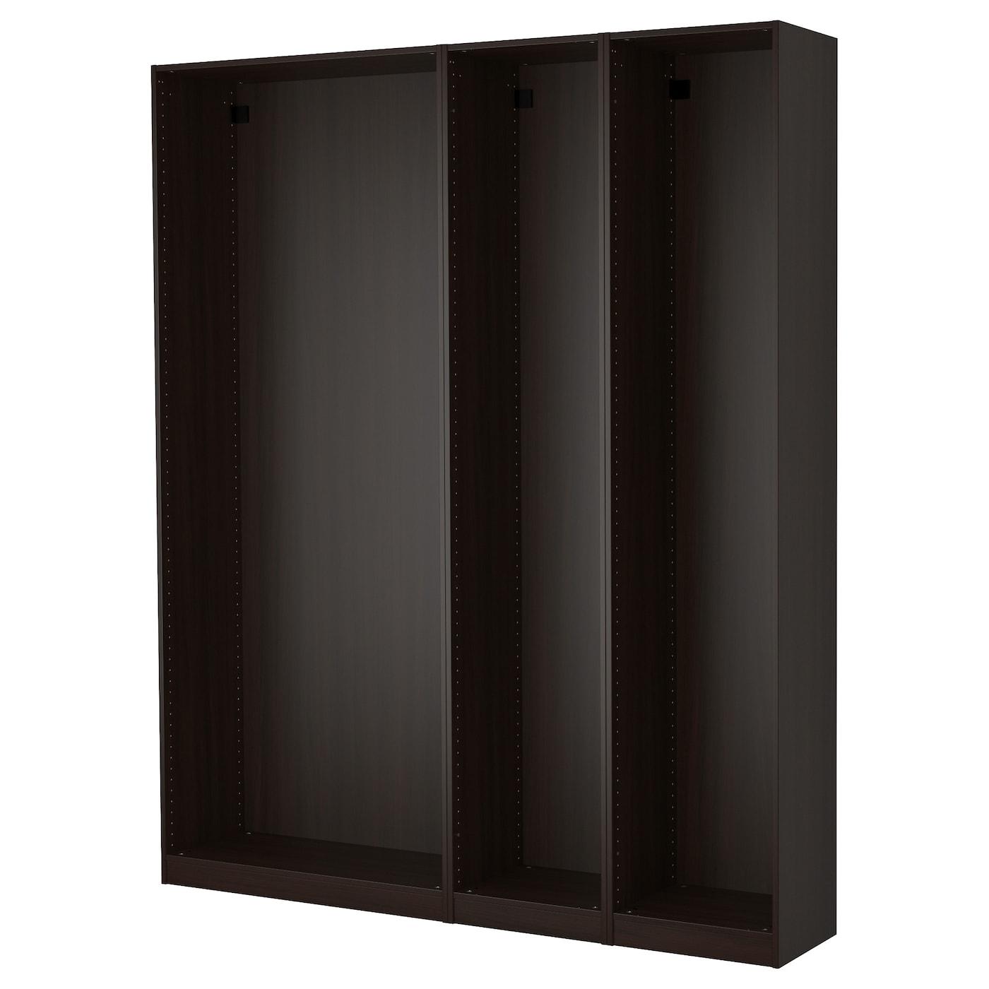 IKEA PAX 3 obudowy szaf, czarnobrąz, 200x35x236 cm