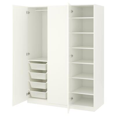 PAX Szafa, biały/Forsand biały, 150x60x201 cm