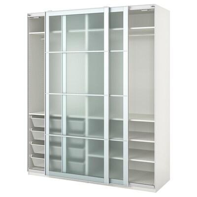 PAX Szafa, biały/Nykirke szkło matowe, kratka, 200x66x236 cm