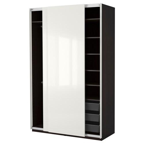 PAX szafa czarnybrąz/Hasvik połysk/biel 150 cm 66 cm 236.4 cm