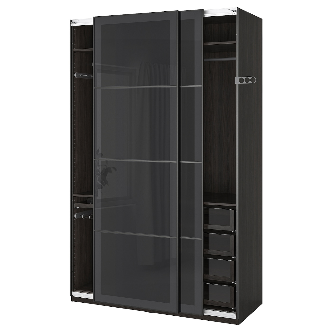 IKEA PAX Szafa, czarnybrąz, Uggdal szare szkło, 150x66x236 cm