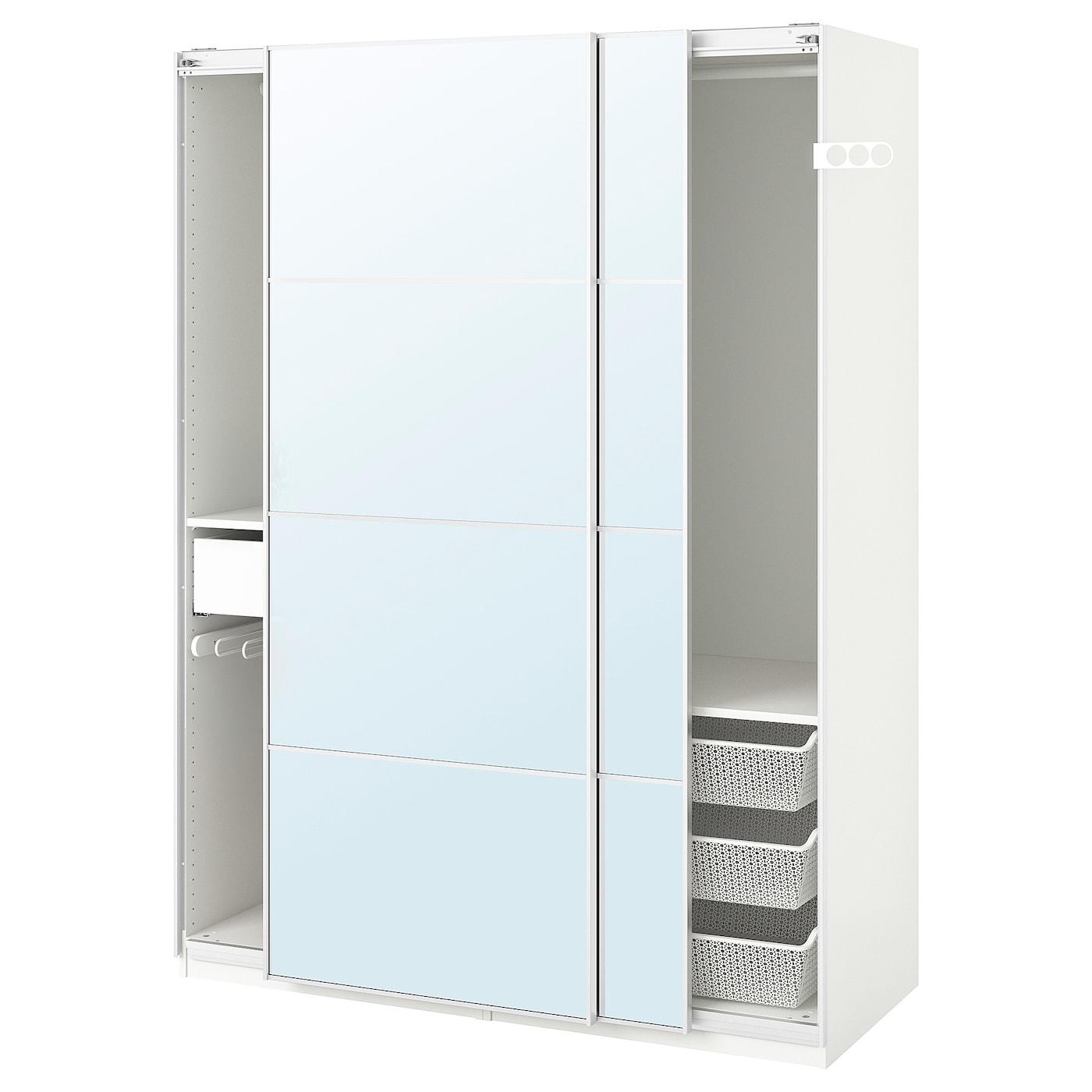 IKEA PAX, 150x66x201 cm, biała szafa z parą drzwi przesuwanych AULI ze szklanymi panelami