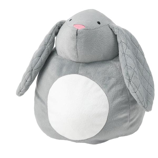 PEKHULT Zabawka pluszowa, lampka nocna LED, szary królik/na baterie, 19 cm