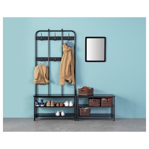 PINNIG Wieszak na ubrania z ławą, czarny, 193 cm