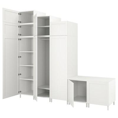 PLATSA Garderoba 9 drzwi, biały Sannidal/biały, 300x57x271 cm