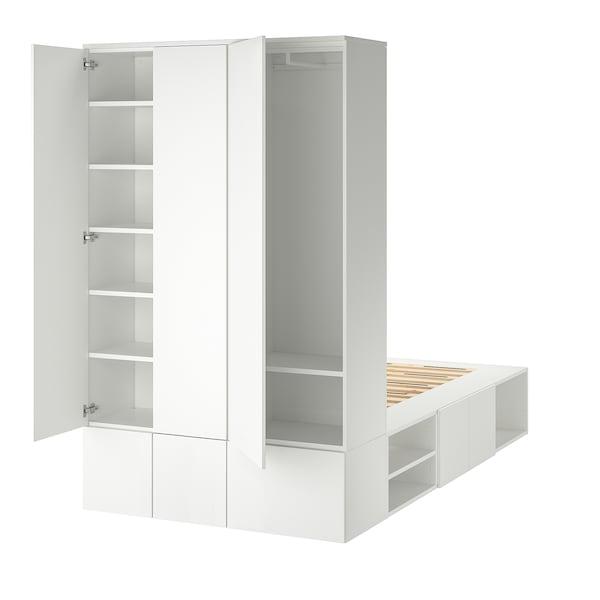 PLATSA Rama łóżka 10 drzwi, biały, 143x244x223 cm