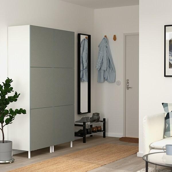 PLATSA Szafa 6 drzwi, biały/Klubbukt szarozielony, 120x42x191 cm