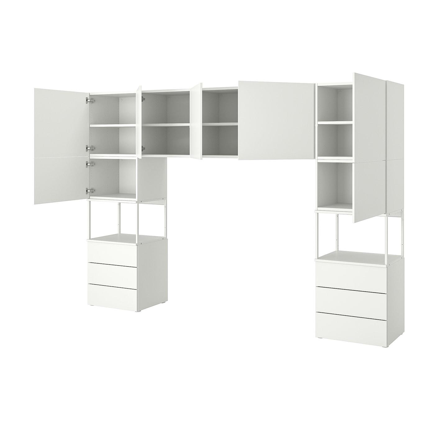 IKEA PLATSA Szafa 7 drzwi+6 szuflad, biały, Fonnes biały, 300x42x201 cm