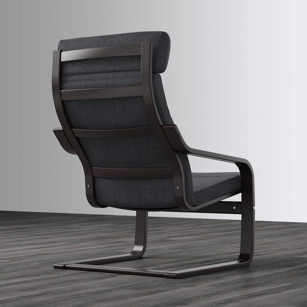 POÄNG fotel czarnybrąz/Hillared antracyt 68 cm 82 cm 100 cm 56 cm 50 cm 42 cm