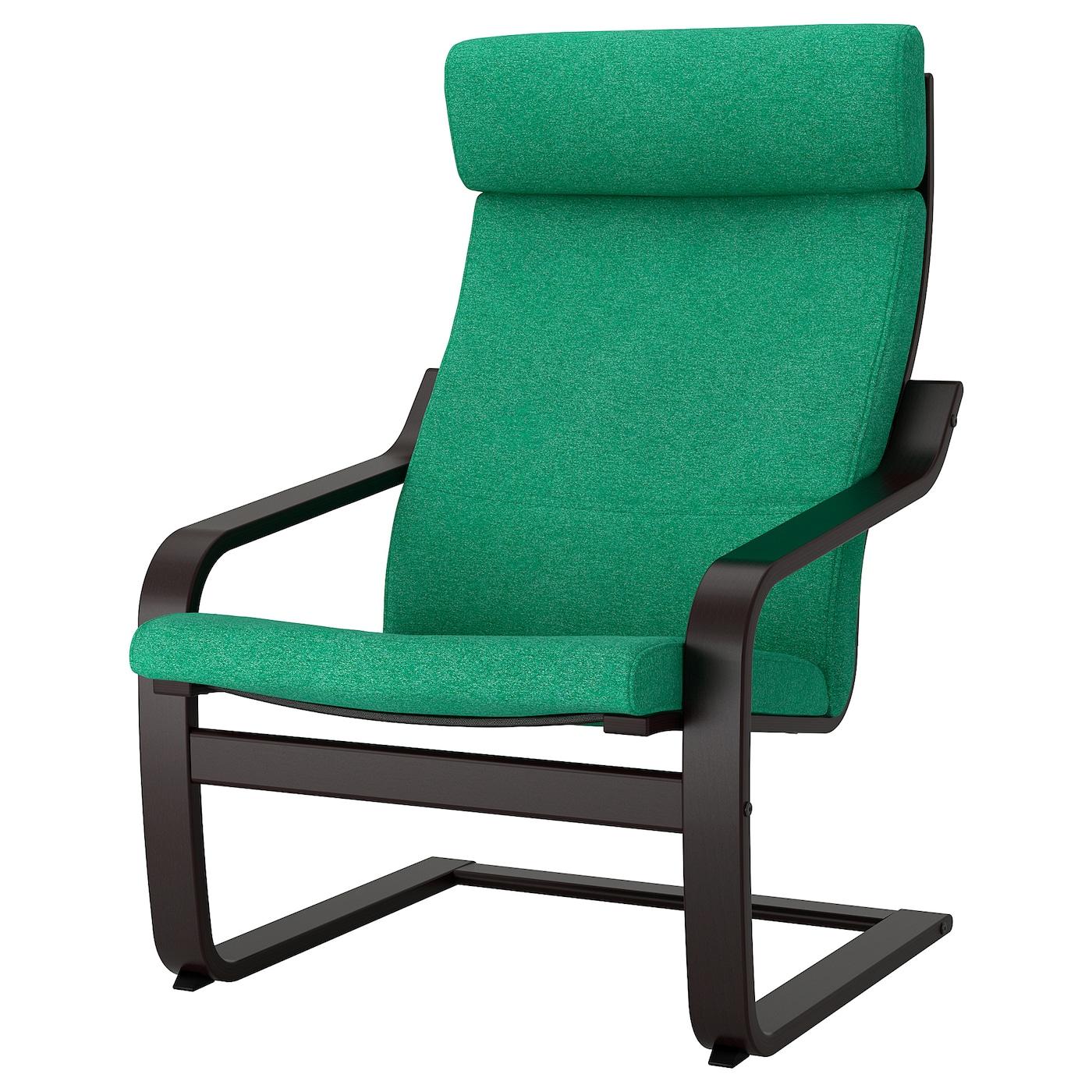 IKEA POÄNG Fotel, czarnybrąz, Lysed jaskrawozielony