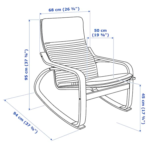 POÄNG krzesło bujane okl brzoz/Knisa czerwony/pomarańczowy 68 cm 94 cm 95 cm 56 cm 50 cm 45 cm