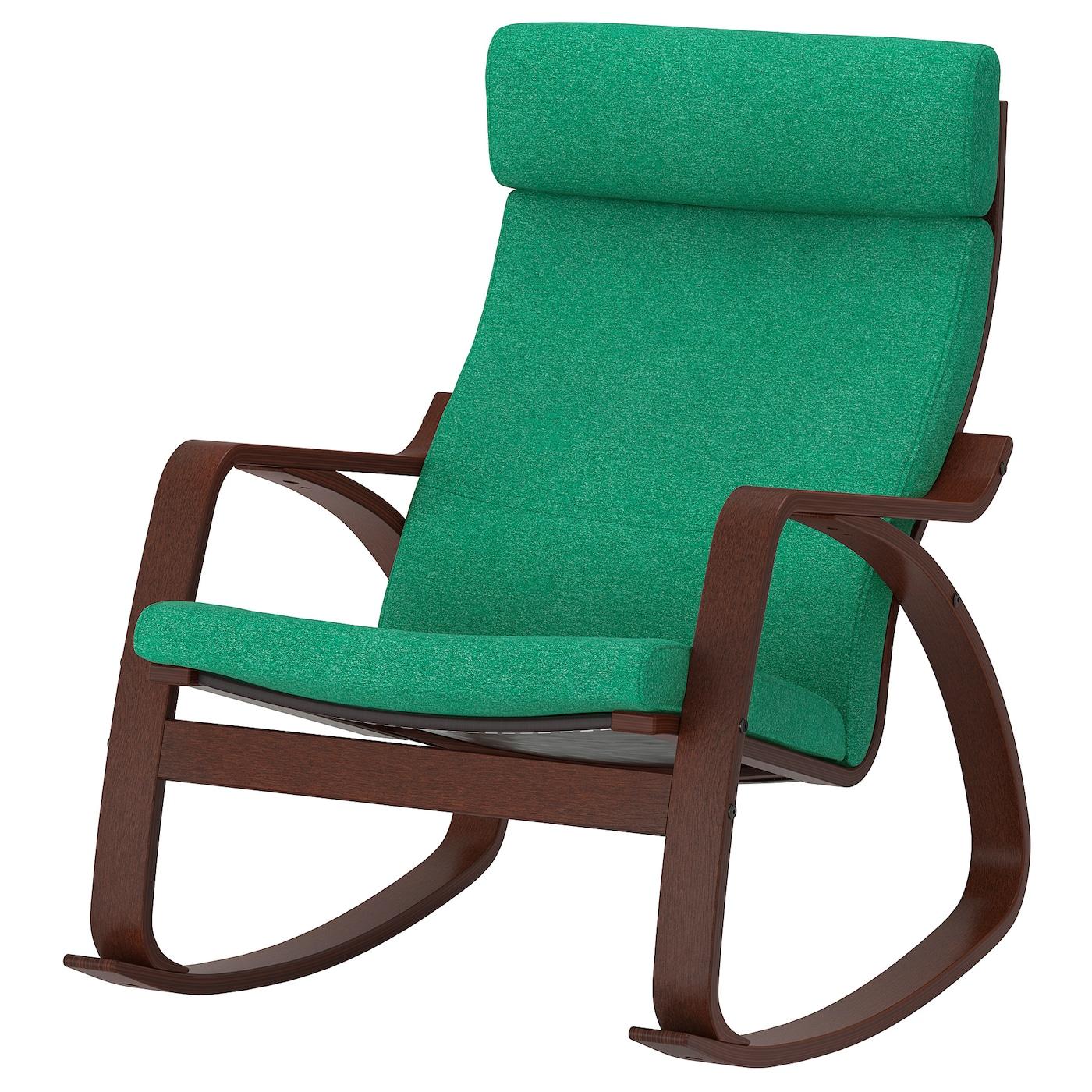 IKEA POÄNG Krzesło bujane, brązowy, Lysed jaskrawozielony