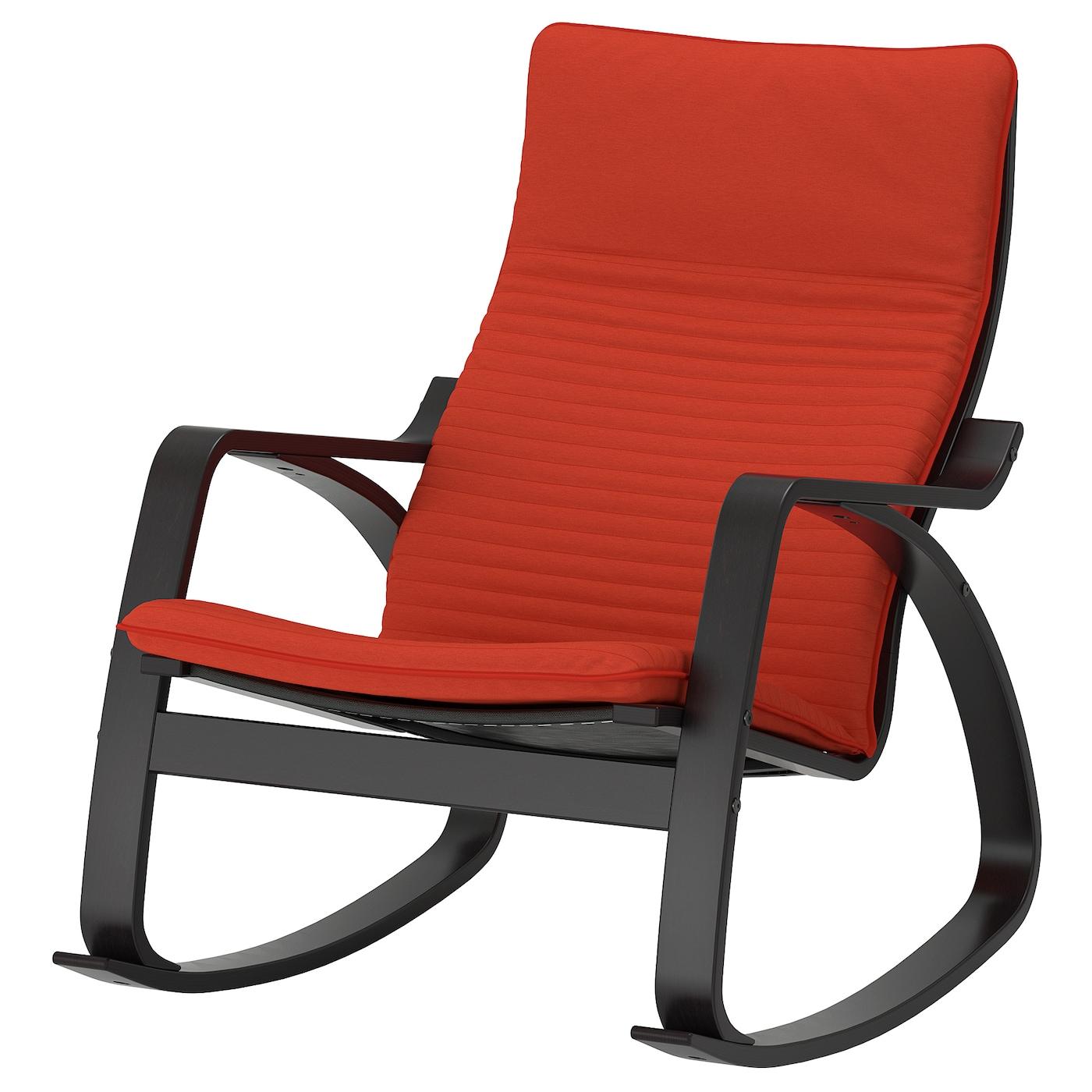 IKEA POÄNG Krzesło bujane, czarnybrąz, Knisa pomarańczowy czerwony/pomarańczowy