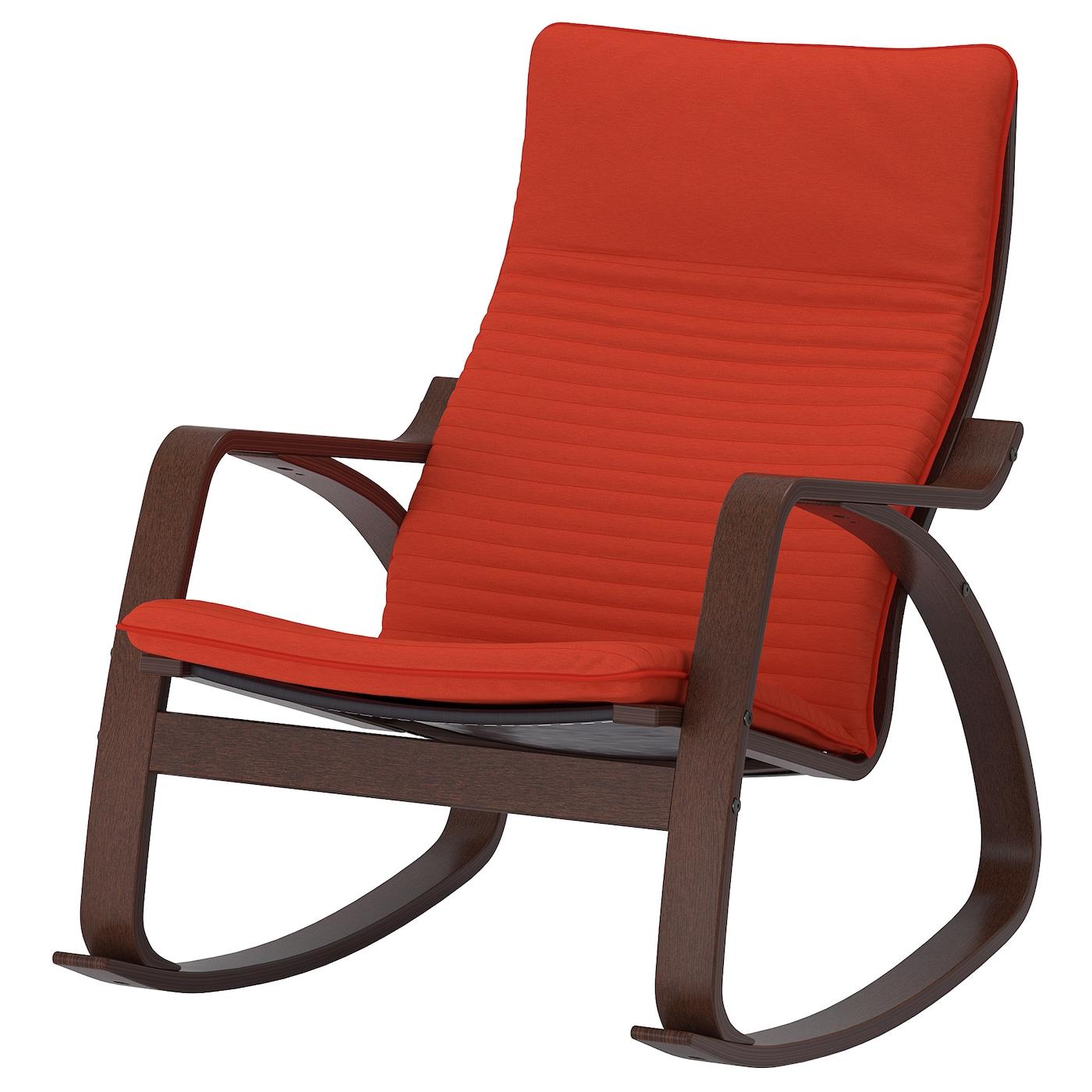 IKEA POÄNG Krzesło bujane, brązowy, Knisa pomarańczowy czerwony/pomarańczowy