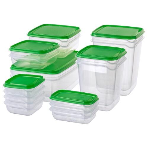 PRUTA pojemnik na żywność, 17 szt. przezroczysty/zielony
