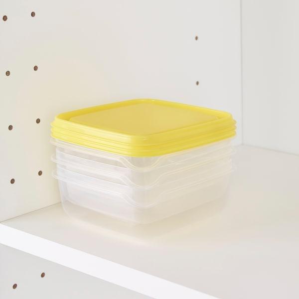 PRUTA Pojemnik na żywność, przezroczysty/żółty, 0.6 l