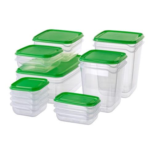 ПРУТА Набор контейнеров, 17 шт, прозрачный, зеленый-1