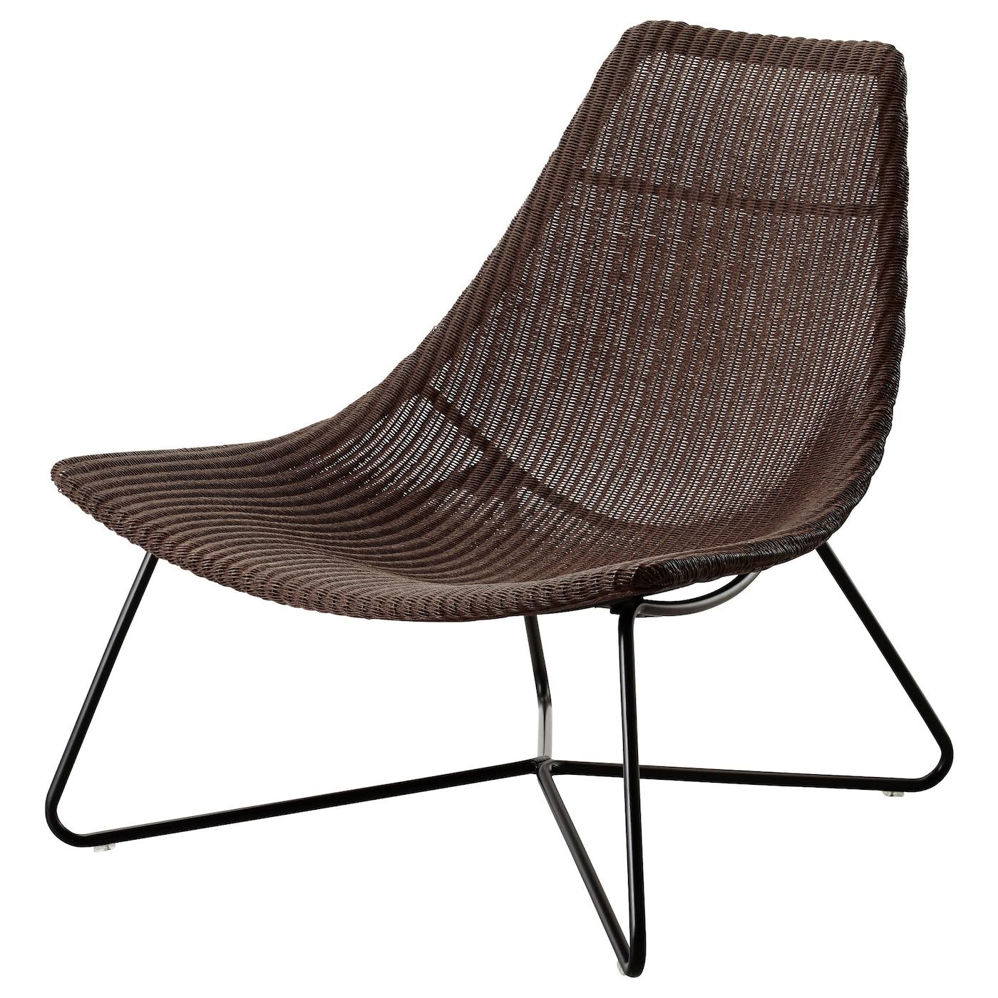 IKEA RÅDVIKEN ciemnobrązowy fotel ratanowy z czarnymi nogami