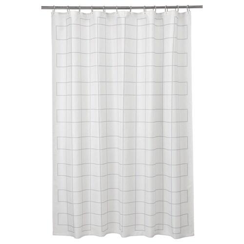 RÄLLSJÖN Zasłona prysznicowa biały/szary 200 cm 180 cm 3.60 m² 130 g/m²
