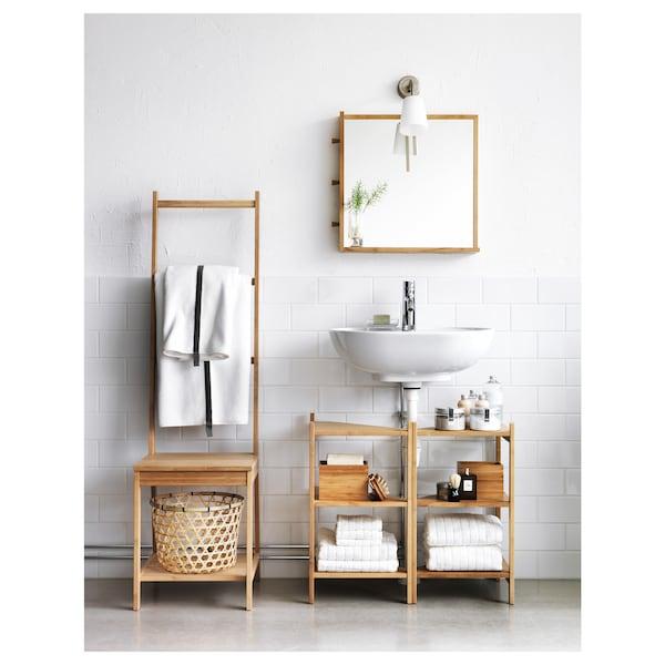 RÅGRUND Regał narożny pod umywalkę, bambus, 34x60 cm